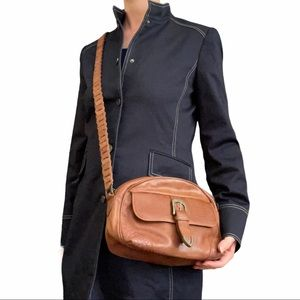 Fossil Croc-Embossed Brown Leather Crossbody Bag